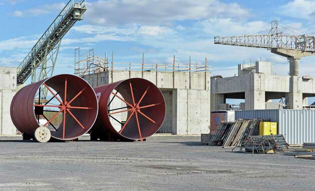Sections of a new kiln await installation at Lafarge Cement plant's modernization project construction site Friday Oct. 10, 2014, in Ravena, N.Y.  (John Carl D'Annibale / Times Union) Photo: John Carl D'Annibale / 10028994A