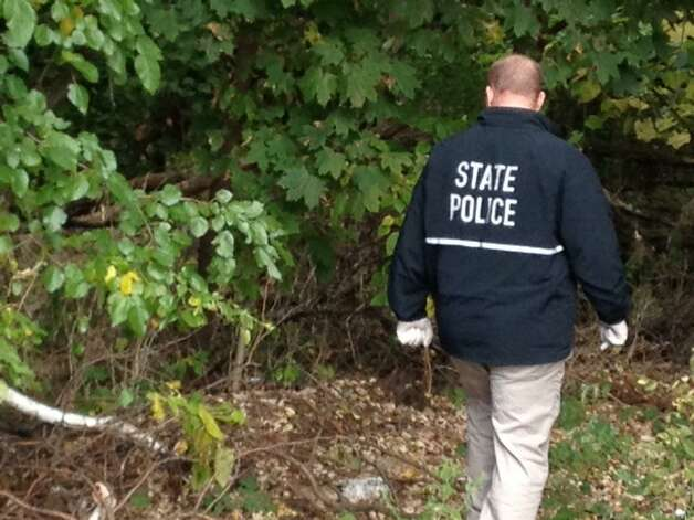 State Police investigator combs the woods for evidence behind 1846 Western Ave., Guilderland, the home where four people - including two children - were found dead on Wednesday. (Skip Dickstein / Times Union)