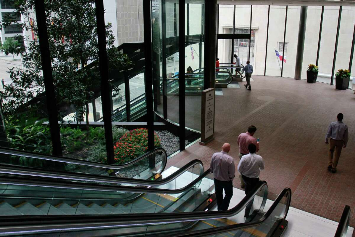 Updated escalators and double-pane windows in the lobby at 2 Houston Center help save energy.