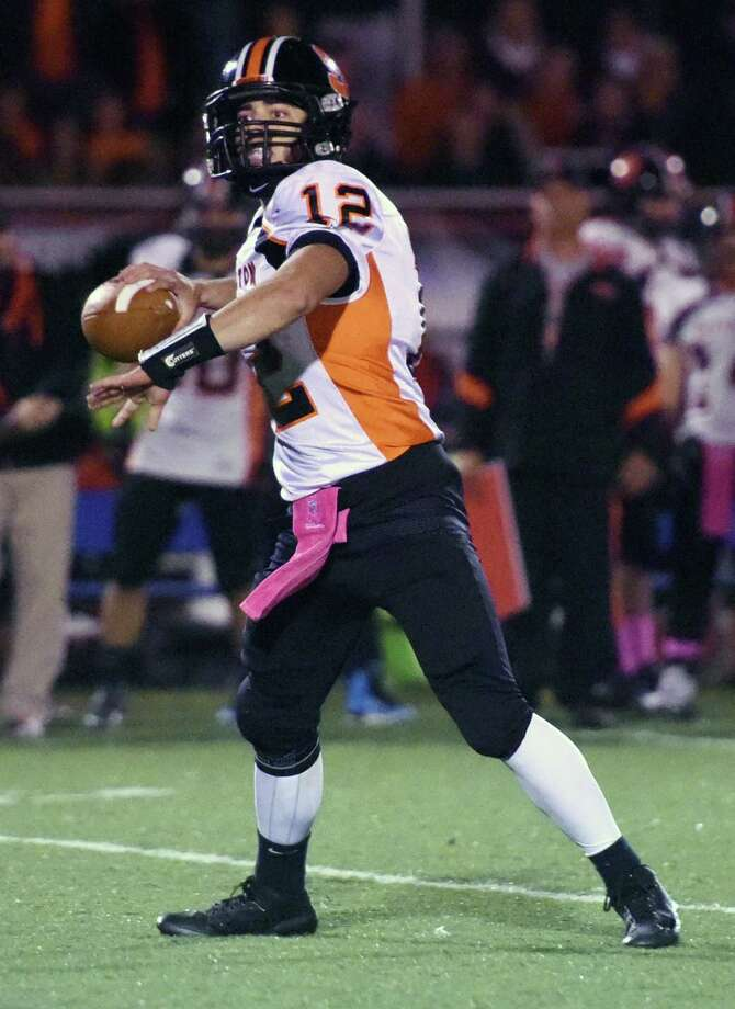17-of-24 passing for 237 yards and a 62-yard TD pass to Sam Kirk in a 38-35 win over Fairfield Prep. Piccirillo also rushed for 91 yards and two scores. Kirk added an interception. Photo: Tyler Sizemore / Greenwich Time