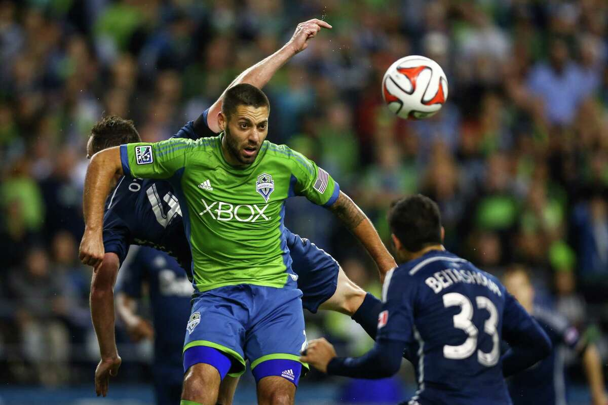 Seattle Sounders player Clint Dempsey tries to get the ball in the goal late in the game against the Vancouver Whitecaps on Friday, October 10, 2014. The Whitecaps won the Cascadia Cup after beating the Sounders 1-0.