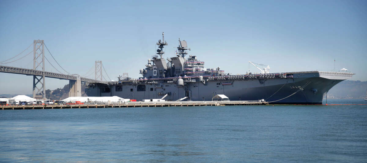 The amphibious assault ship America is seen at Piers 30/32 on Wednesday.