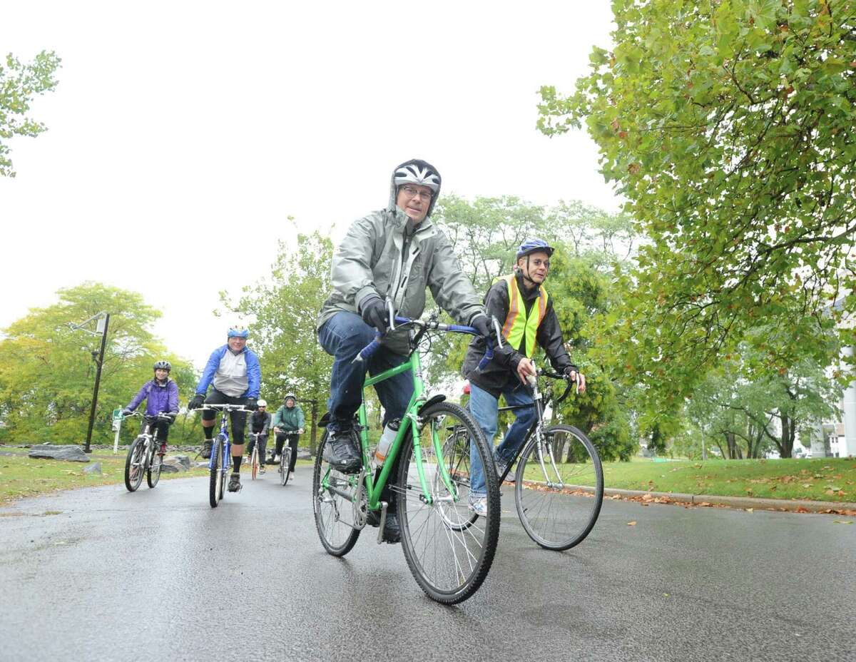 Mill River Greenway Ride & Rally for the expansion of the Mill River Park Greenway and new bike lanes in Stamford, at Kosciuszko Park, Saturday morning, Oct. 11, 2014.