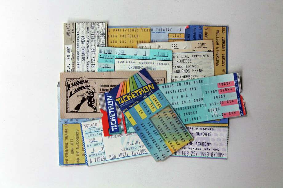 An assortment of John Breunig's concert tickets. Photo: John Breunig / Stamford Advocate