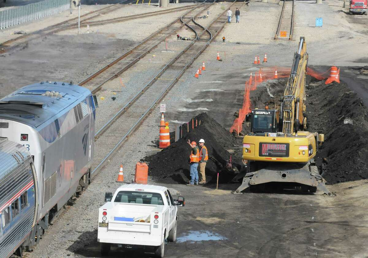 Work underway on extension of high-level platforms at the Rensselaer Rail Station on Friday Oct. 10, 2014 in Rensselaer, N.Y. (Michael P. Farrell/Times Union)