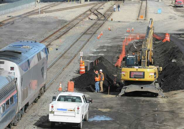 Work underway on  extension of high-level platforms at the Rensselaer Rail Station on Friday Oct. 10, 2014 in Rensselaer, N.Y.  (Michael P. Farrell/Times Union) Photo: Michael P. Farrell / 10028981A