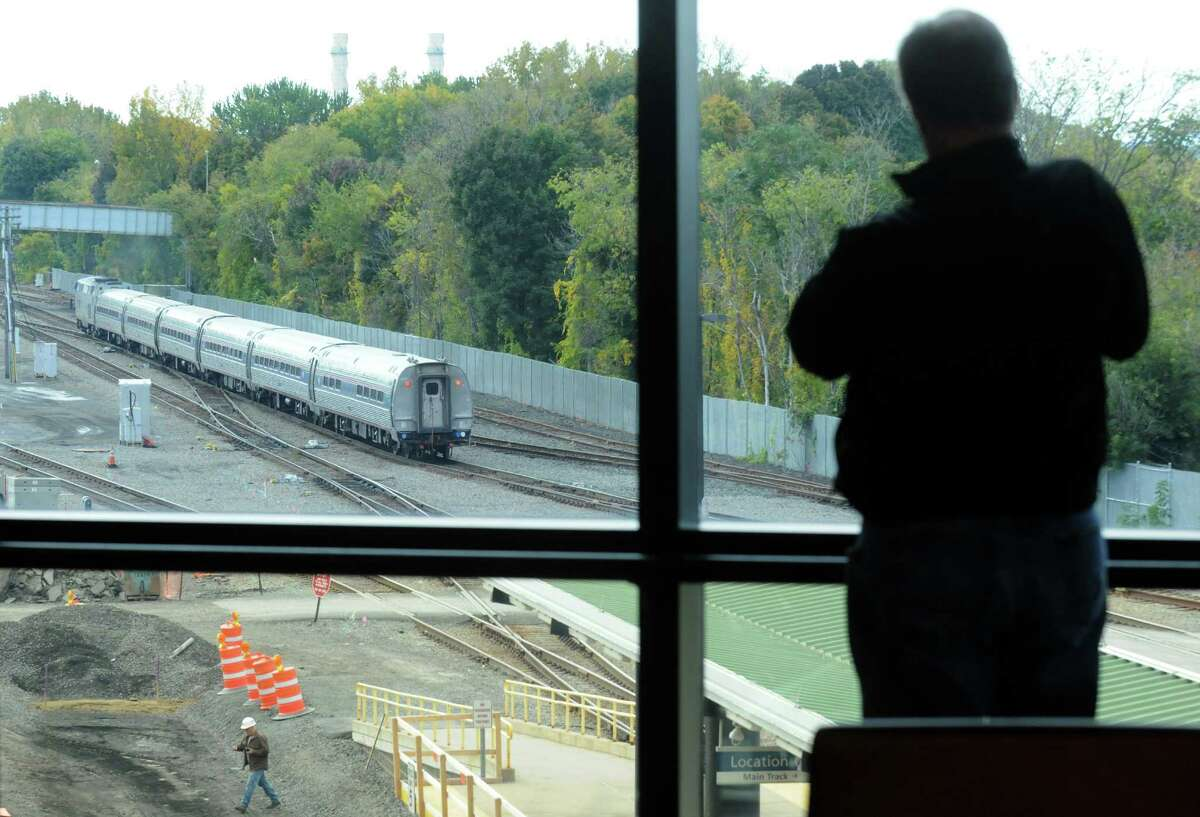 An Amtrak train going south pulls out of the Rensselaer Rail Station on Friday Oct. 10, 2014 in Rensselaer, N.Y. (Michael P. Farrell/Times Union)
