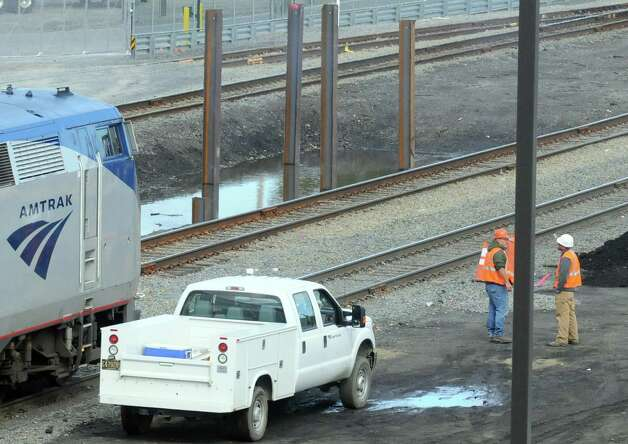Footings in place for extension of high-level platforms at the Rensselaer Rail Station on Friday Oct. 10, 2014 in Rensselaer, N.Y.  (Michael P. Farrell/Times Union) Photo: Michael P. Farrell / 10028981A