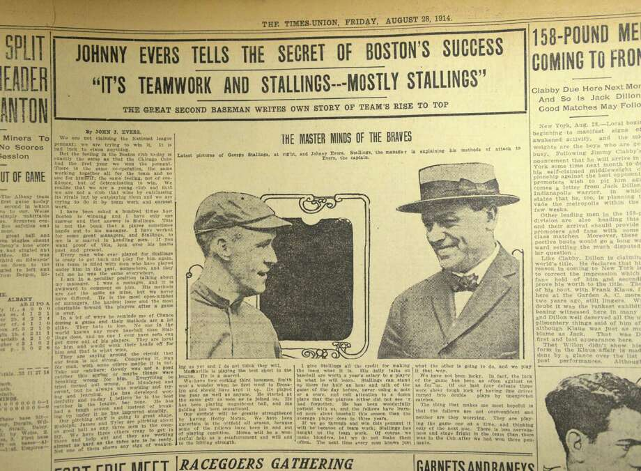 August 28, 1914, Times Union sports page story on Boston Braves player Johnny Evers playing in the World Series. Photo is of Johnny Evers , left, and Boston manager George Stallings, right. (Will Waldron/Times Union) Photo: WW