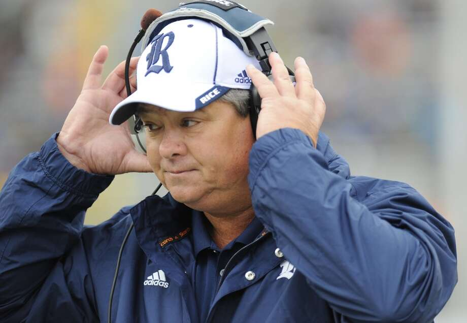 Rice coach David Bailiff saw his squad fall to 0-2 with Saturday's loss at Army. Photo: Hans Pennink, Associated Press