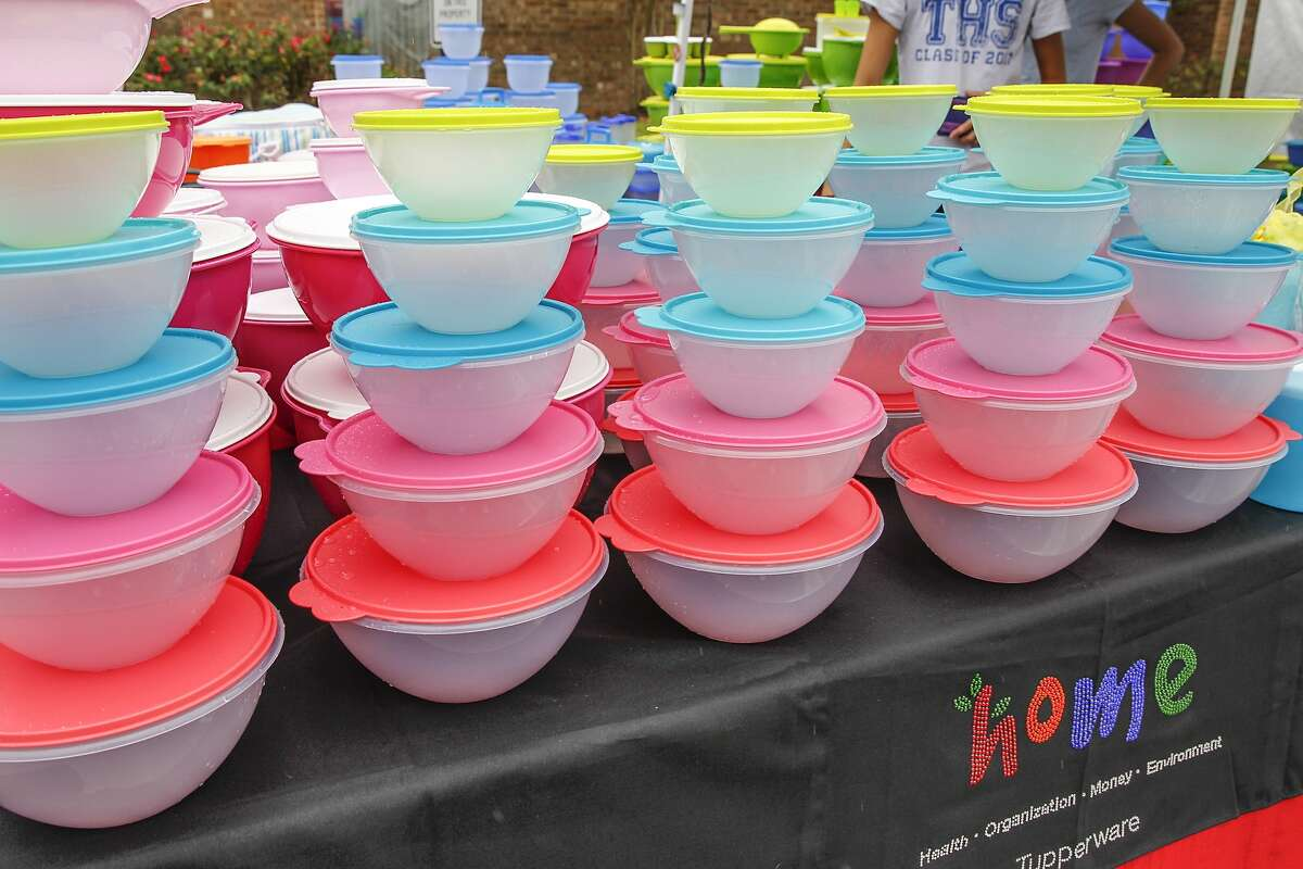 A Tupperware display creates a rainbow on a stormy day at the Katy Rice Harvest Festival held in downtown Katy on October 11-12 2014.