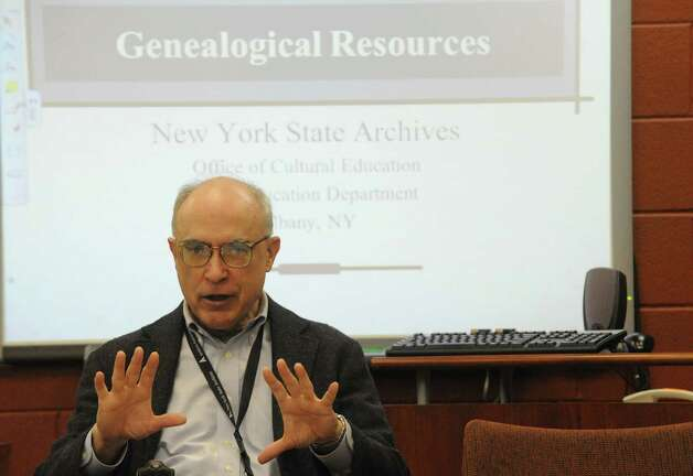 Jim Folts, head of reference services, leads a workshop on researhing your family history during Family Heritage Day at the New Tork State Museum, Libray and Archive on Saturday Oct. 11, 2014 in Albany, N.Y.  (Michael P. Farrell/Times Union) Photo: Michael P. Farrell / 10028969A