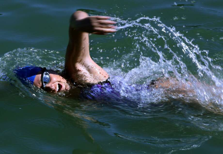 Who is the first woman to complete the swim from the shark-infested Farallon Islands all the way to San Francisco Bay. Photo: Liz Hafalia, The Chronicle
