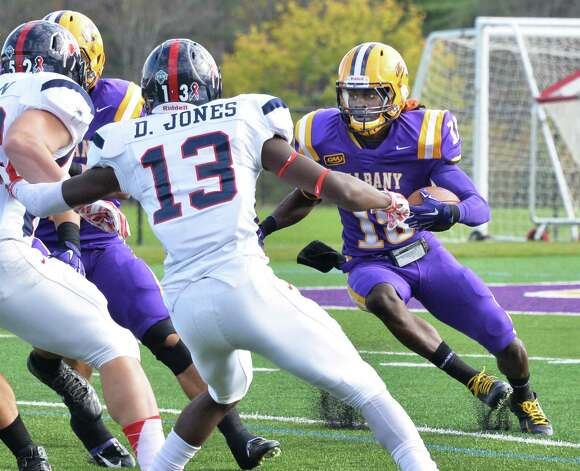 UAlbany 's #15 Rayshan Clark returns a kick-off during Saturday's game against Richmond at Bob Ford Field Oct. 11, 2014, in Albany, NY.  (John Carl D'Annibale / Times Union) Photo: John Carl D'Annibale / 10028959A