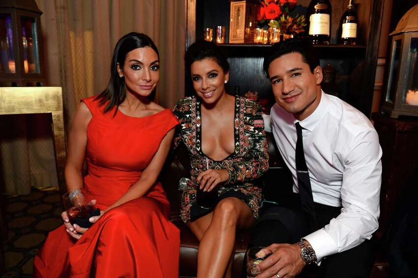 IMAGE DISTRIBUTED FOR HENNESSY - From left, Courtney Mazza, Eva Longoria and Mario Lopez attend the NCLR ALMA Awards Producers' Post Party Presented by Hennessy Privilege at The Langham Huntington on Friday, Oct. 10, 2014 in Pasadena, Calif. (Photo by Jordan Strauss/Invision for Hennessy/AP)