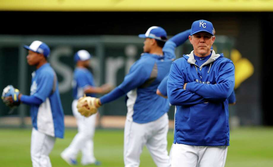 Kansas City Royals manager Ned Yost watches as his team works out on their off day during the ALCS baseball series Kansas City, Mo., Sunday, Oct. 12, 2014. The Royals are to face the Baltimore Orioles in Game 3 of the ALCS Monday. (AP Photo/Orlin Wagner) ORG XMIT: MOMC114 Photo: Orlin Wagner / AP