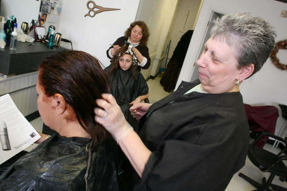 Mane Event hair salon co-owners Barbara Finn and Roseann Pastore have been in business on Mill Street in Byram for the past twelve years. Photo: David Ames, David Ames/For Greenwich Time / Greenwich Time