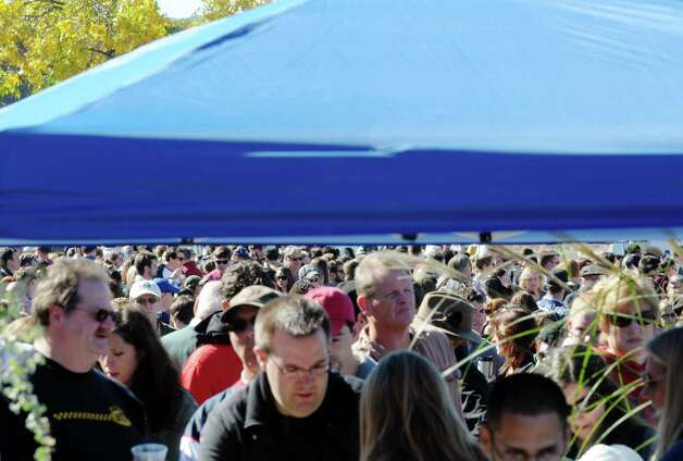 Riverfront Park is filled with visitors tasting the various types of chowder at the eighth annual Chowderfest at Riverfront Park on Sunday, Oct. 12, 2014, in Troy, N.Y.   (Paul Buckowski / Times Union) Photo: Paul Buckowski / 00028887A