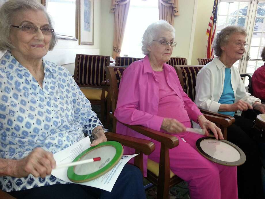 Parkway Place memory care and assisted living residents have the benefit of participating in personalized, individualized brain exercise programs through registering their participation. Shown, left to right, are residents Jean Sypert, Frances Montgomery and Virginia Robertson.