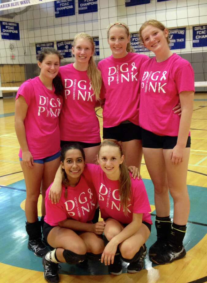 Darien girls volleyball players pose in Dig Pink t-shirts to promote awareness for the 2014 Dig Pink/Spike Out Cancer event on Friday, Oct. 17. From left in the front, Keli Reyes and Emily Milukas. From left in the back, Anna Barsanti, Celia Martzolf, Izzy Taylor and Claire Naughton Photo: Contributed / Darien News Contributed