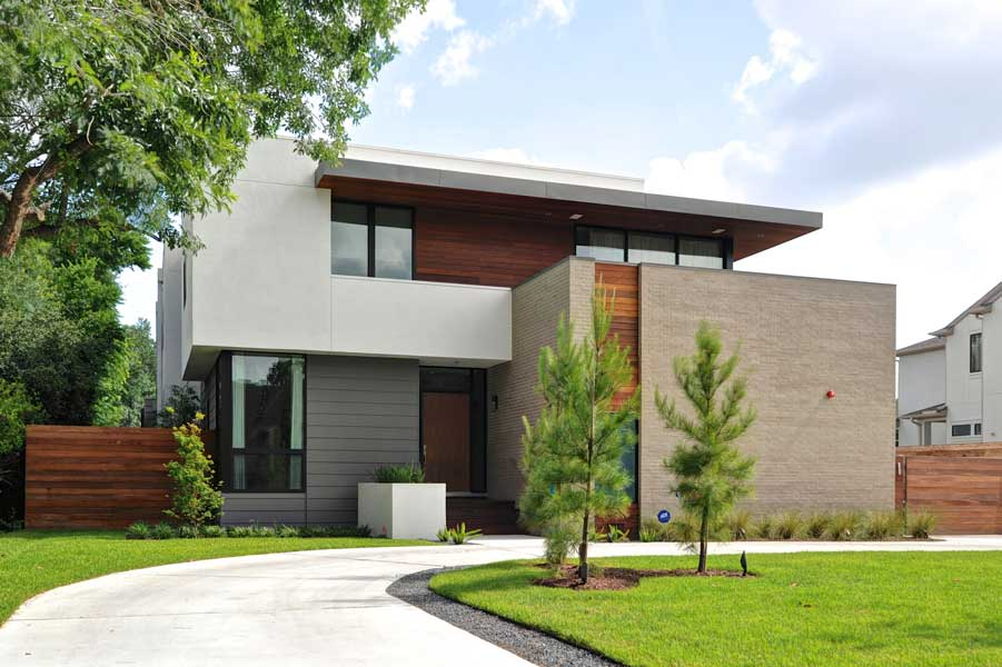 Contemporary home highlights upcoming aia houston home Modern house columns