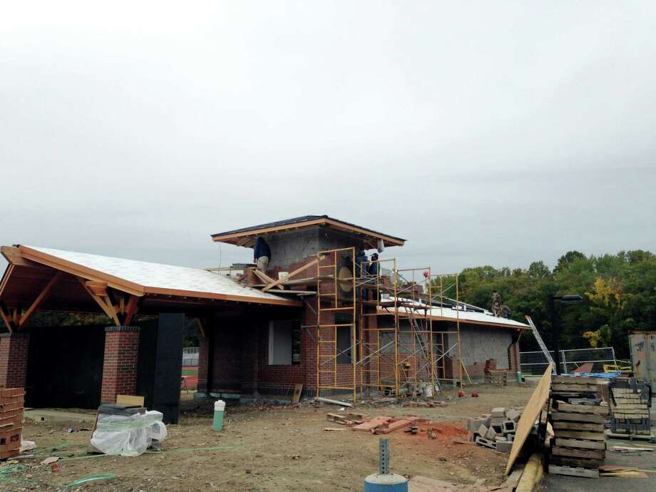 The pavilion, given to Darien High School from the Darien Athletic Foundation, is nearing completion and is set to open for the Turkey Bowl game against New Canaan High School. The concession stand, however, will not be open. Photo: Megan Spicer / Darien News