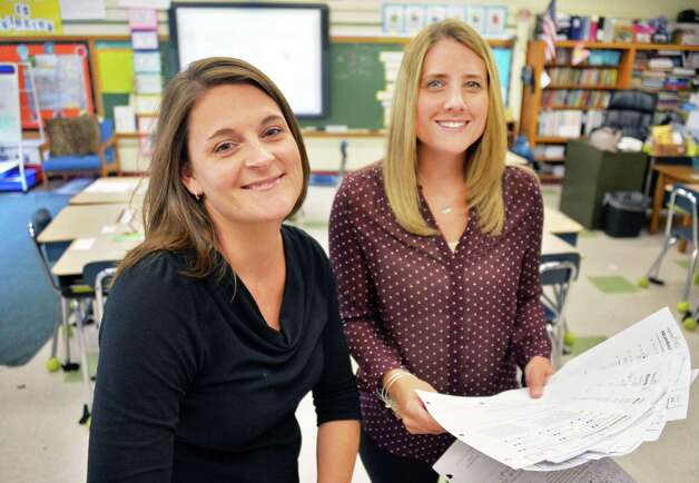 Job sharing teachers Stefanie Doemel, left, and Kelly Ward in their fourth grader classroom at Slingerlands Elementary School Tuesday Sept. 30, 2014, in Delmar, NY.   (John Carl D'Annibale / Times Union) Photo: John Carl D'Annibale / 10028781A