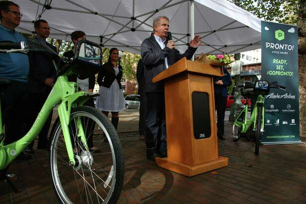 Seattle Mayor Ed Murray speaks as Pronto Cycle Share launches a bike share program in Seattle on Monday, October 13, 2014. The program will have 500 bicycles available for rent at 50 stations mostly in the core of Seattle.