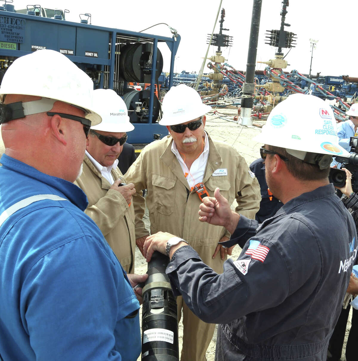 Egidio Torre Cantéº, governor of the Mexican state of Tamaulipas, which shares its northern border with much of South Texas, is seen visiting Marathon Oil facilities in the Eagle Ford Shale play area in Beeville.