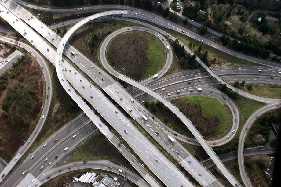 Interstate 405, shown here at the inter-change with state Route 520, was intended as a 30-mile bypass around Seattle, but has turned into a major headche for commuters. Photo: MIKE URBAN, Seattlepi.com File