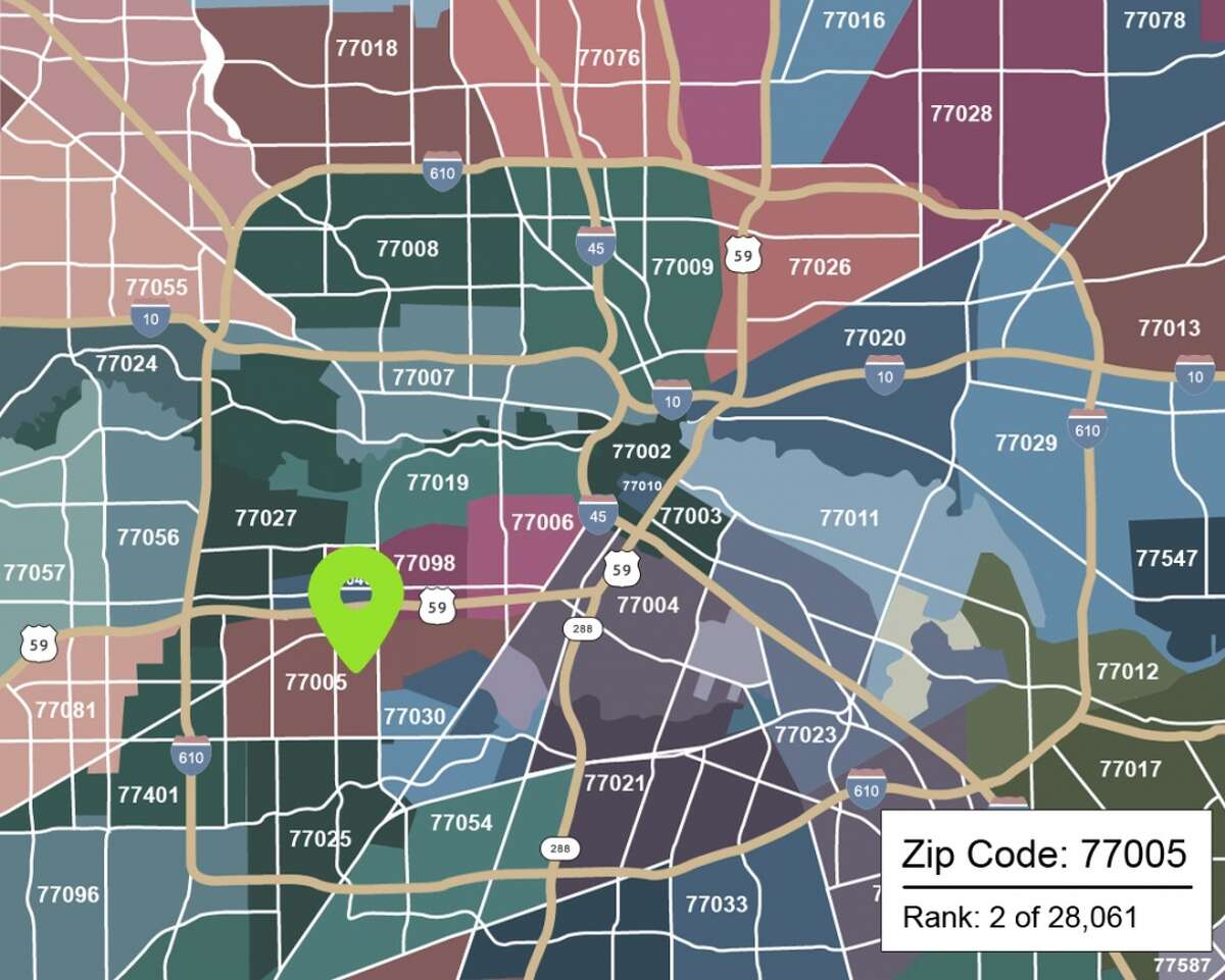 See how Houston zip codes rank among the rest of the country, according to real estate blogMovoto. Map source: Houston Properties