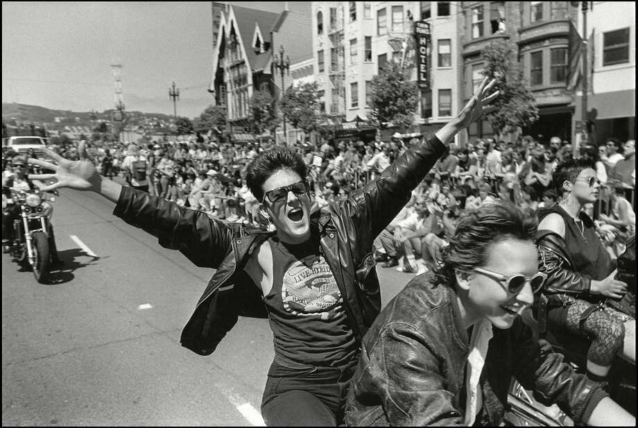 Dykes on Bikes, Starting the Parade,'     Photos from PRIDE: Parade, Prom, Community, opening on October 11 at the PhotoCentral Gallery, in Hayward The black and white photos were taken at the Pride parade during the years 1984-1990.            With shouts of support 'Dykes on Bikes' ride down Market Street in the Castro District, at the beginning of the San Francisco Pride Parade, in 1988. Photo: Saul Bromberger