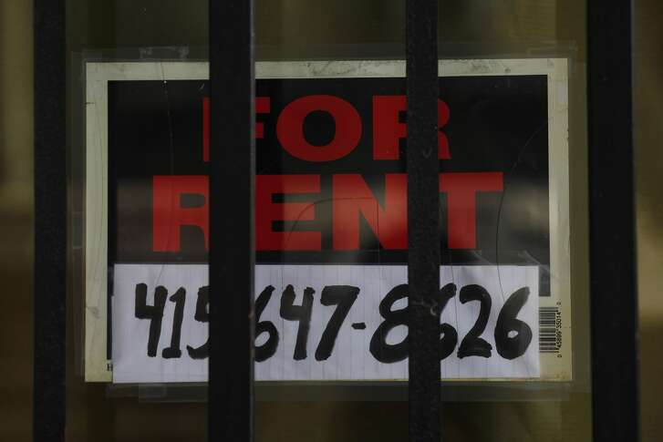 A for rent sign hangs in the front window of the storefront which used to be Rose's Beauty Salon on Wednesday, June 4, 2014  in San Francisco, Calif.