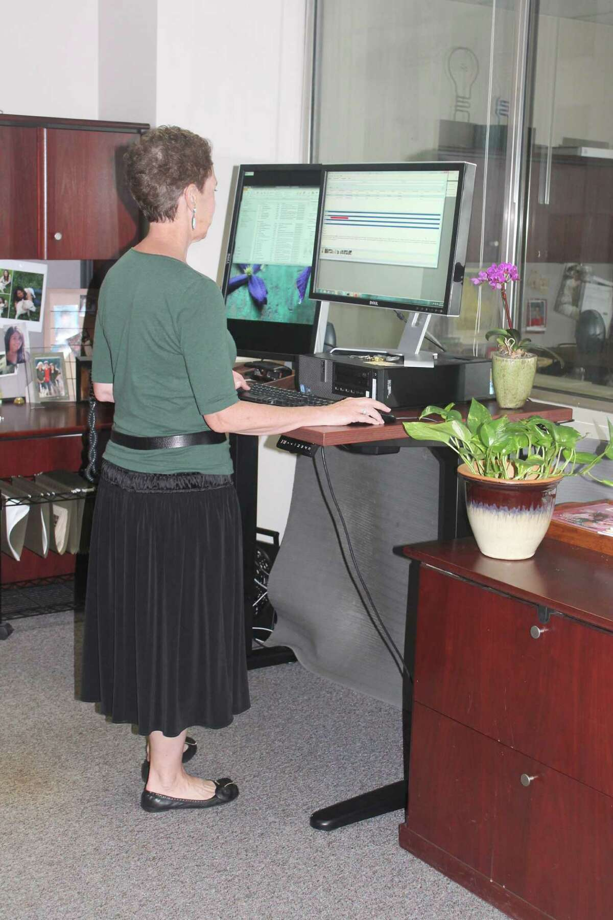 The Jarvis standing desk, available at ergodepot.com, is electronically adjustable and has 26 inches of adjustment, with a maximum height of 51 inches.