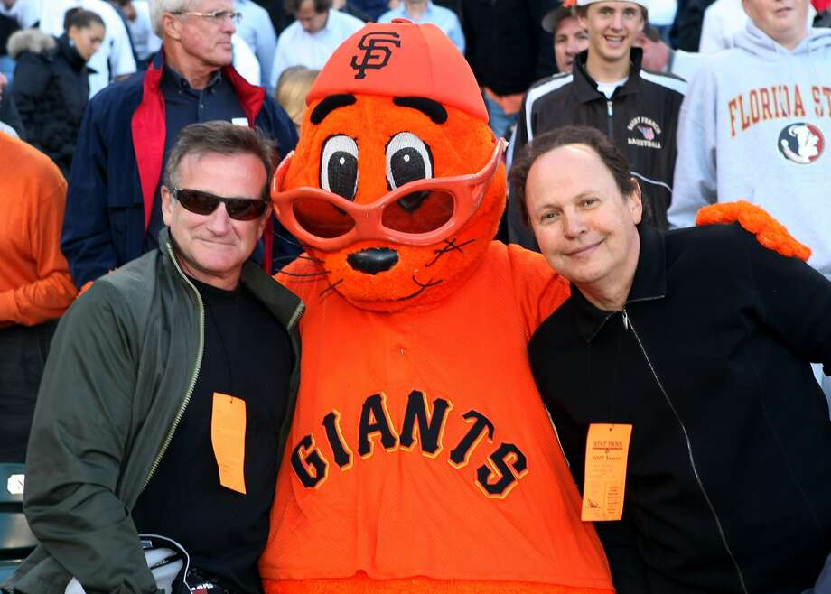Robin Williams, Lou Seal and Billy Crystal watch the Giants game on June 22, 2007. Photo: SF Giants