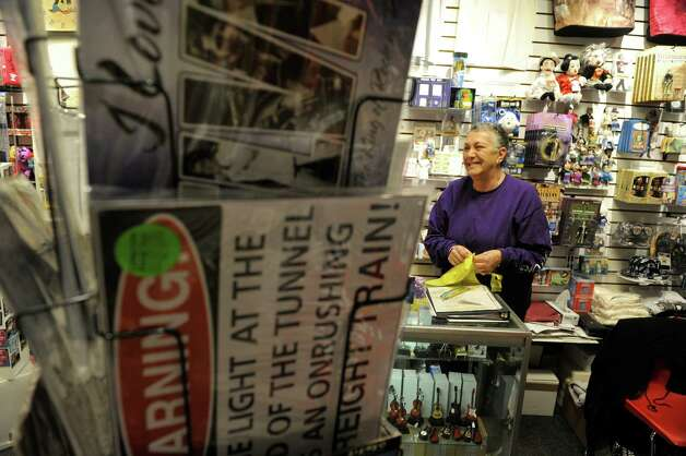 "Carol Perone, a volunteer in the Proctor's Gift Center inside Proctors Theater, talks about the impact the show ""Newsies"" has had for the shop during an interview on Monday, Oct. 13, 2014, in Schenectady, N.Y.   (Paul Buckowski / Times Union) Photo: Paul Buckowski / 10029018A"