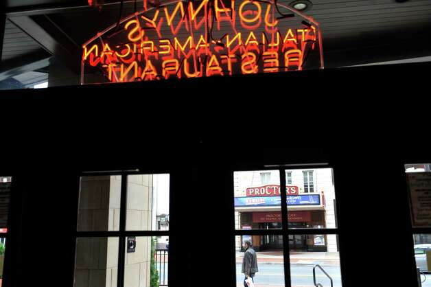"A view looking out the front doors of Johnny's Italian Restaurant on Monday, Oct. 13, 2014, in Schenectady, N.Y. The restaurant has seen in increase in business because of the show ""Newsies.""   (Paul Buckowski / Times Union) Photo: Paul Buckowski / 10029018A"