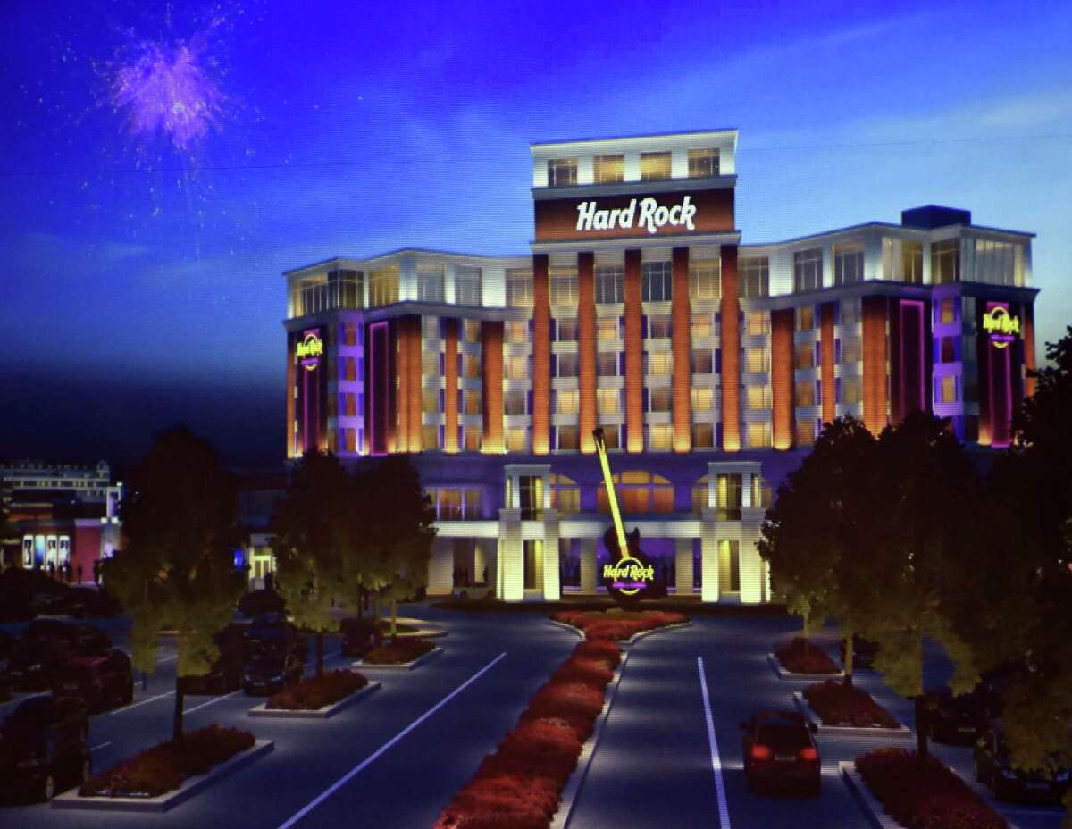 Photo of artist's rendering of the Hard Rock Rensselaer, one of the gambling projects being considered for the Capital Region. (Skip Dickstein/Times Union) ORG XMIT: MER2014090816040014