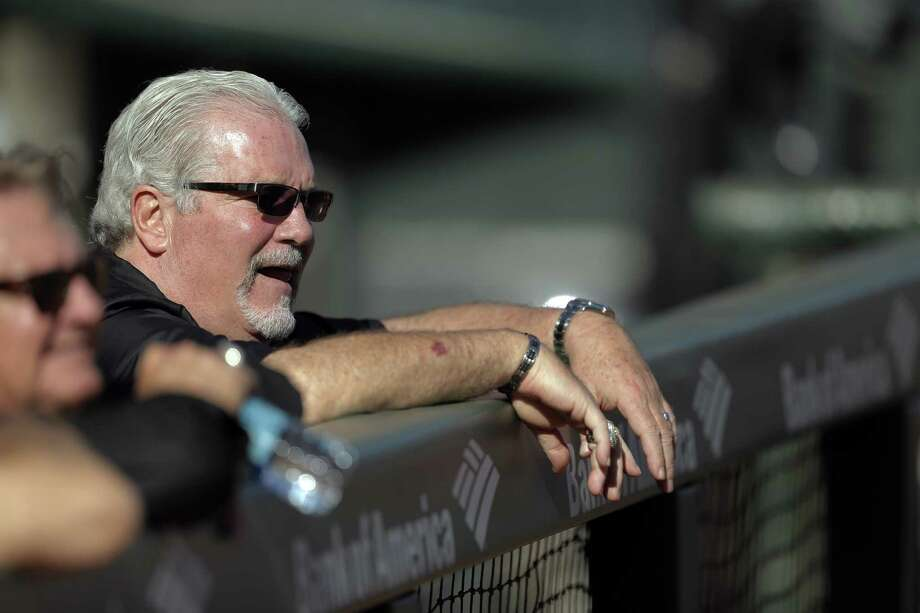 Brian Sabean watches practice at AT&T Park in San Francisco, Calif., on Monday, October 13, 2014. The San Francisco Giants will host the St. Louis Cardinals for Games 3, 4, and 5 of the NLCS  on Tuesday, Wednesday and Thursday. Photo: Carlos Avila Gonzalez / The Chronicle / ONLINE_YES