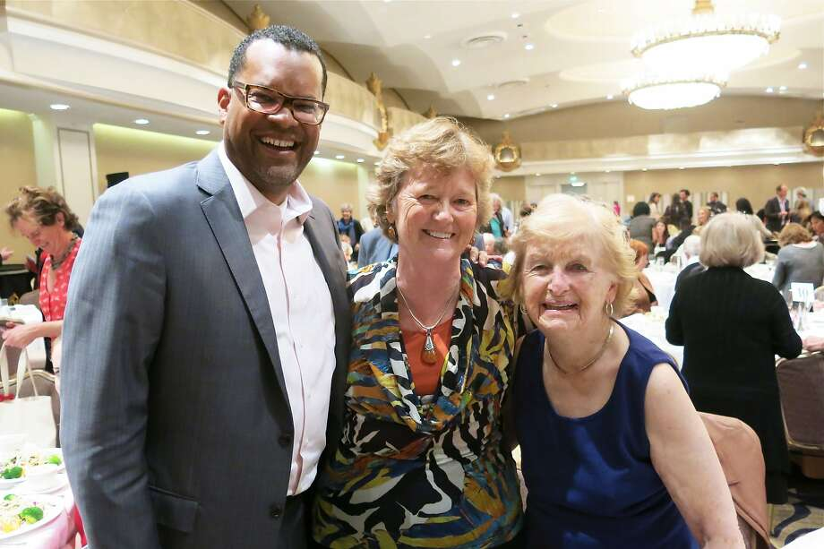 SF Foundation CEO Fred Blackwell (at left) with Homeless Prenatal Program founder Martha Ryan and supporter Elizabeth McCarthy at the Fairmont Hotel. Oct 2014. By Catherine Bigelow. Photo: Catherine Bigelow, Special To The Chronicle