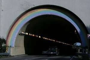 Photo taken of the rainbow on the south end of the Waldo Tunnel on highway 101 in Sausalito, Calif.,