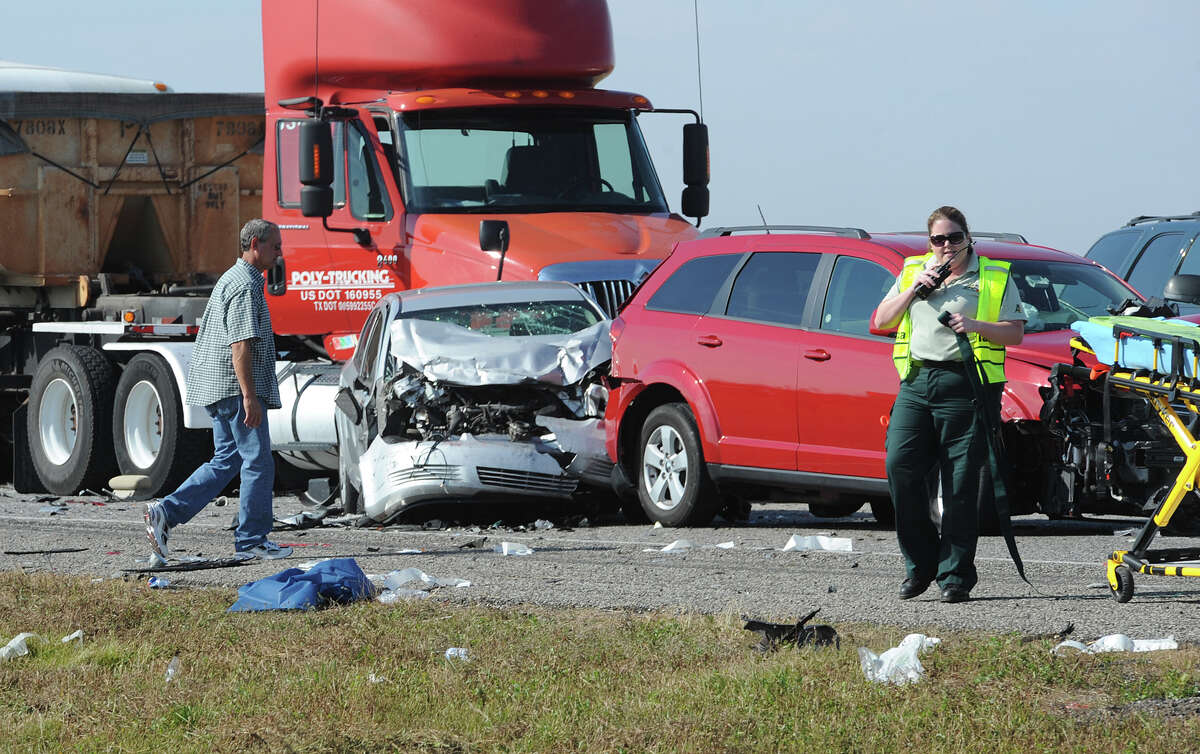 Heavy fog and speeders are said to be the causes of a wreck that caused the death of one person and involved more than 100 cars on Interstate 10 Thanksgiving morning. Several tractor trailers, a tanker truck and bus were also involved in the pile up. Photo taken Thursday, November 22, 2012 Guiseppe Barranco/The Enterprise
