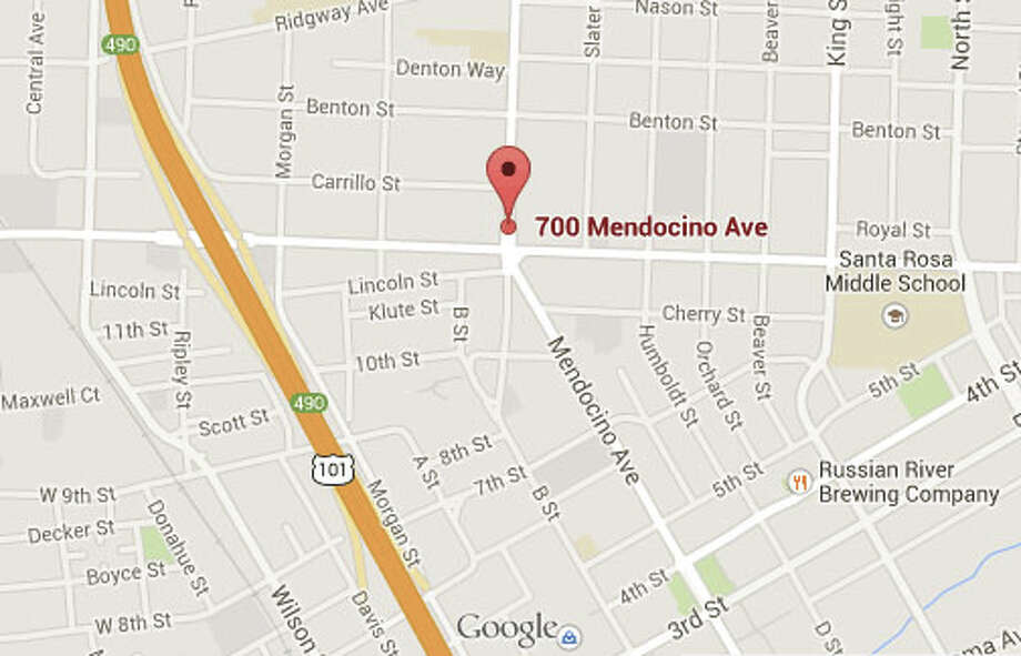 A pedestrian died in Santa Rosa on Monday afternoon after being struck by a car on the 700 block of Mendocino Avenue. Photo: Google Maps