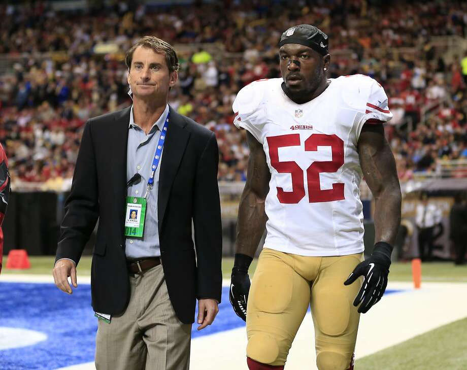 San Francisco 49ers inside linebacker Patrick Willis (52) leaves the field after being injured in the second quarter of an NFL football game against the St. Louis Rams Monday, Oct. 13, 2014, in St Louis. (AP Photo/Billy Hurst) Photo: Billy Hurst, Associated Press