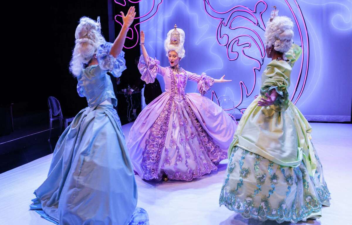 """Emily Neves stars in """"Marie Antoinette"""" at Stages. Here she cavorts with ladies-in-waiting Kelley Peters (left) and Robin LeMon."""