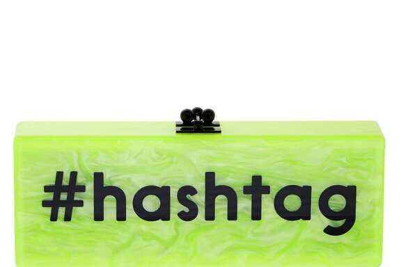A #hashtag clutch by Edie Parker resonates with the trend to market to Twitter and Facebook users.