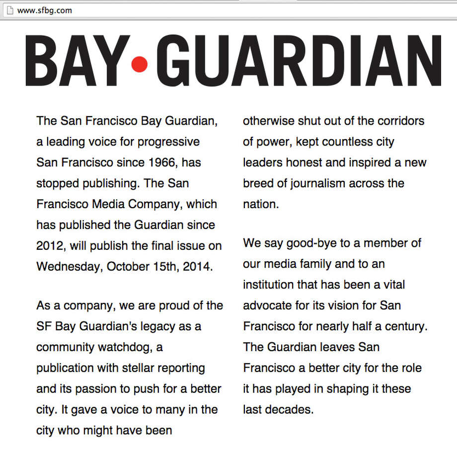 The website of the San Francisco Bay Guardian was replaced with this message announcing the paper will stop publishing this week. Photo: Sfbg.com