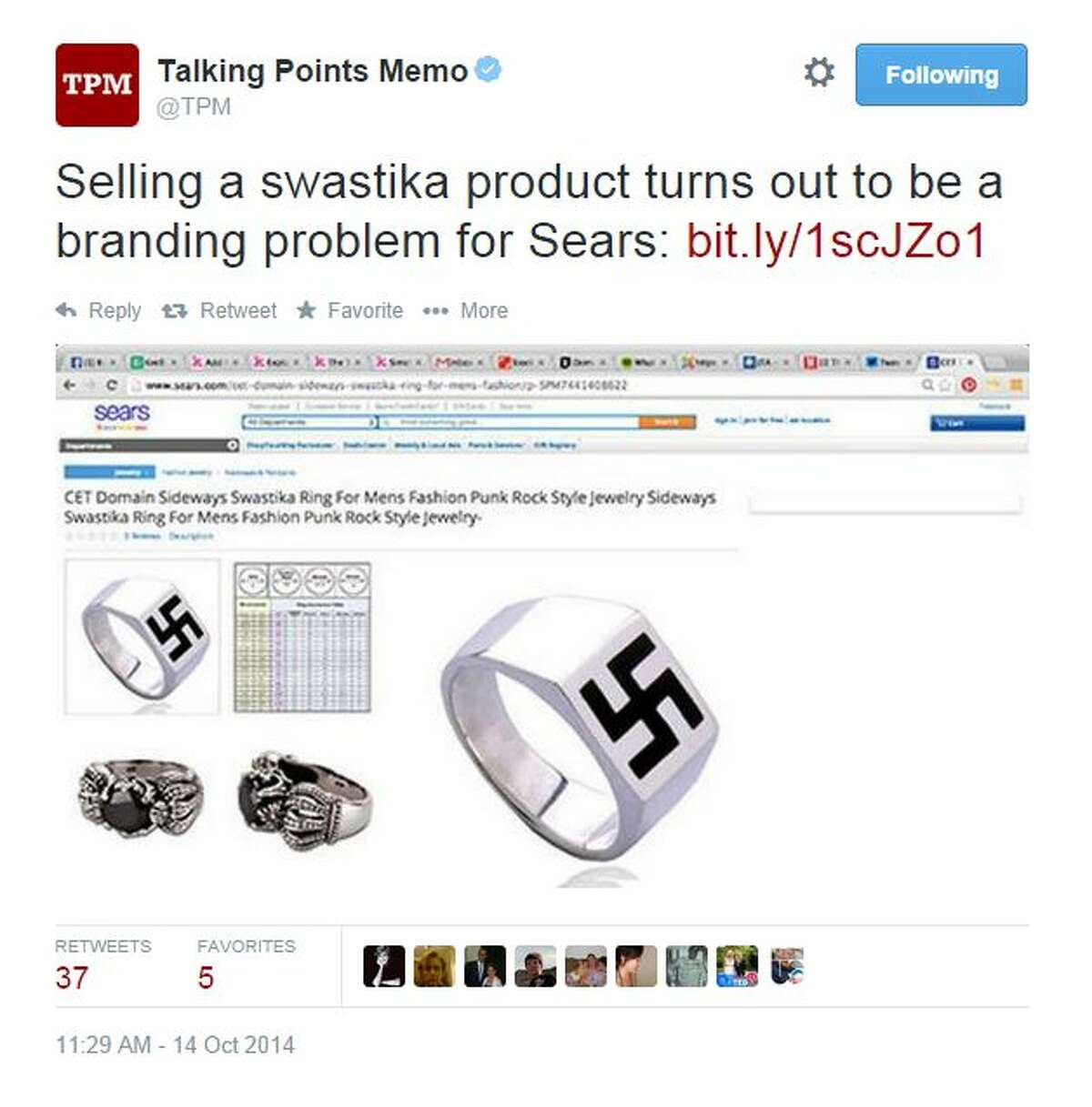 """@TPM tweeted, """"Selling a swastika product turns out to be a branding problem for Sears."""""""