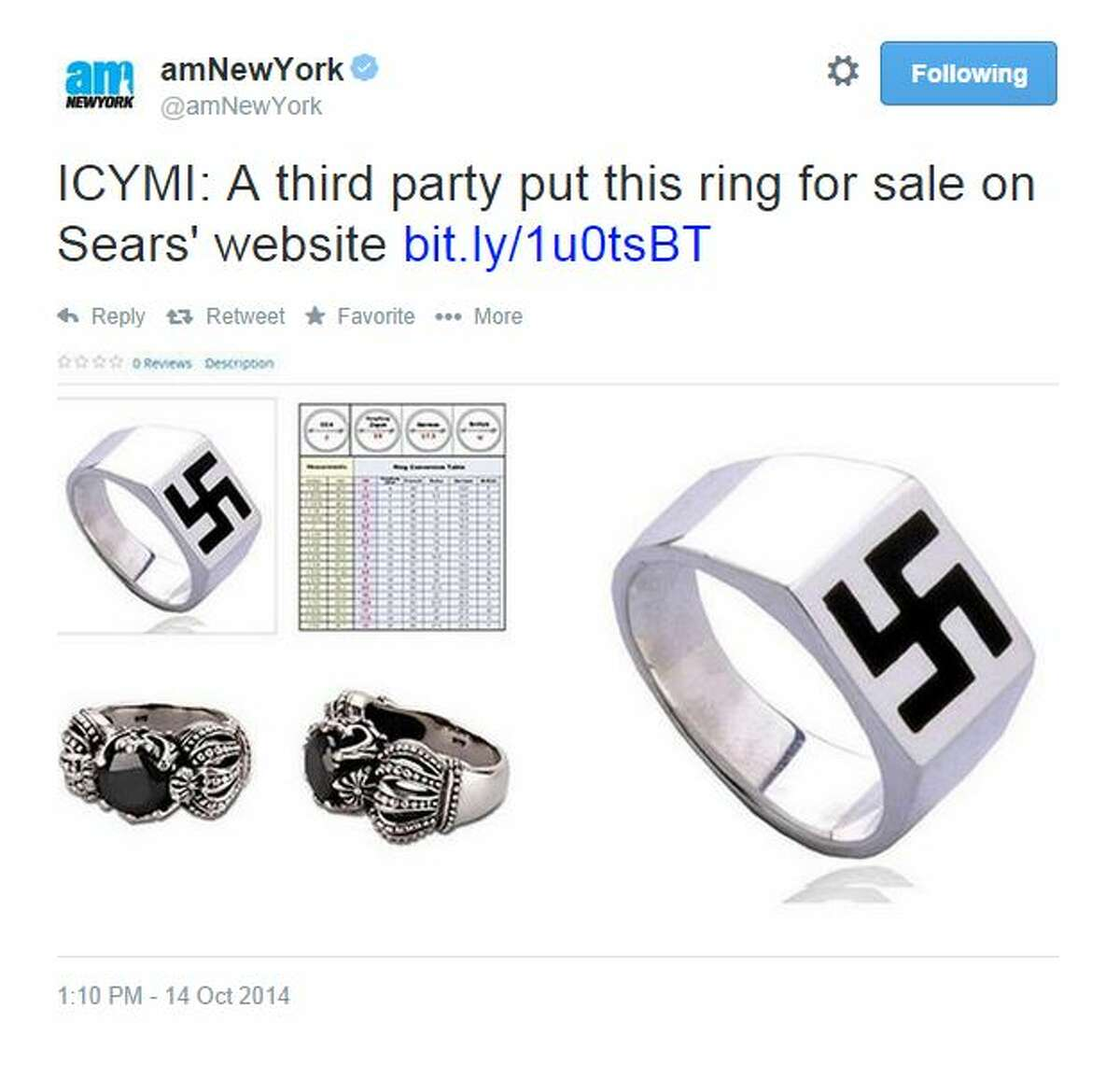 """@amNewYork tweeted this screenshot of the swastika ring page on Sears' website. """"ICYMI: A third party put this ring for sale on Sears' website"""""""