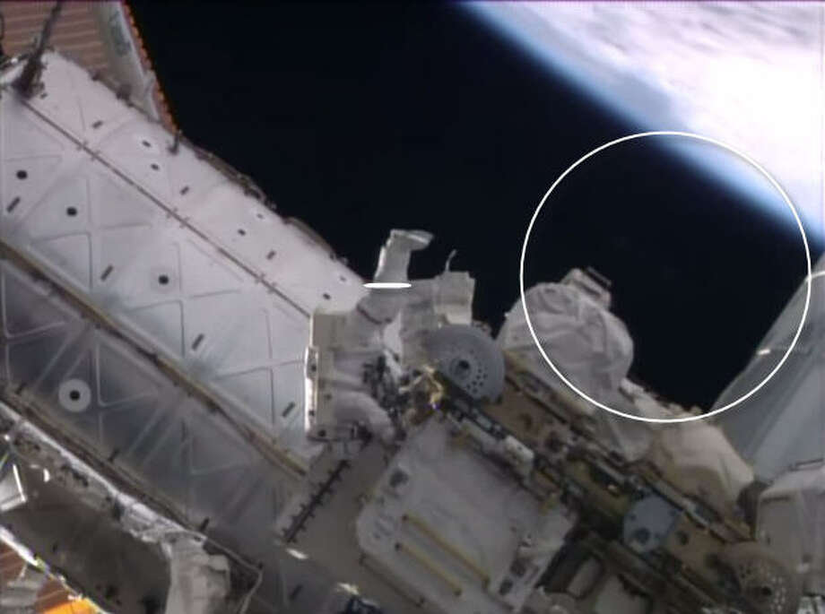 Was a UFO watching NASA astronauts?Watch this space. A video published on the NASA YouTube channel of a spacewalk outside the International Space Station appears to show a blurry object appear behind an astronaut where nothing before was present.Nothing appears there now ....